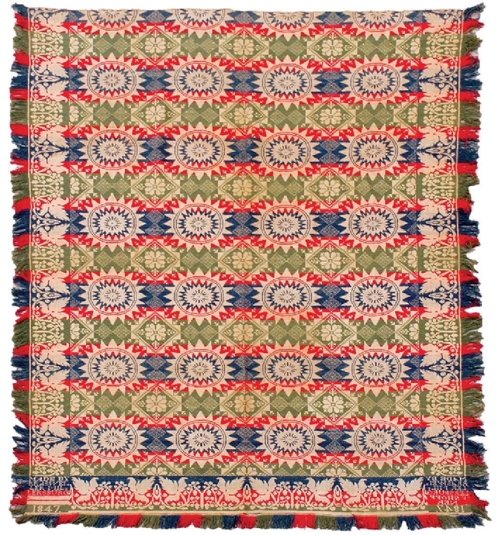 1847 Jacquard Coverlet Signed + Dated