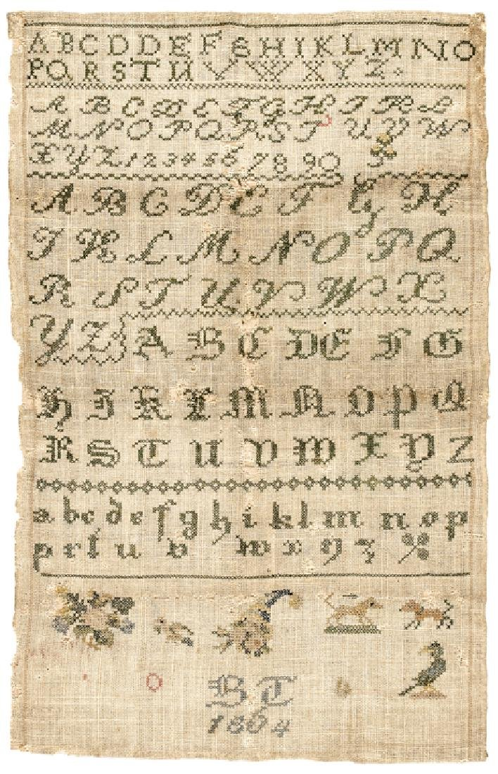 1864-Dated Hand-Wrought Needlework Sampler
