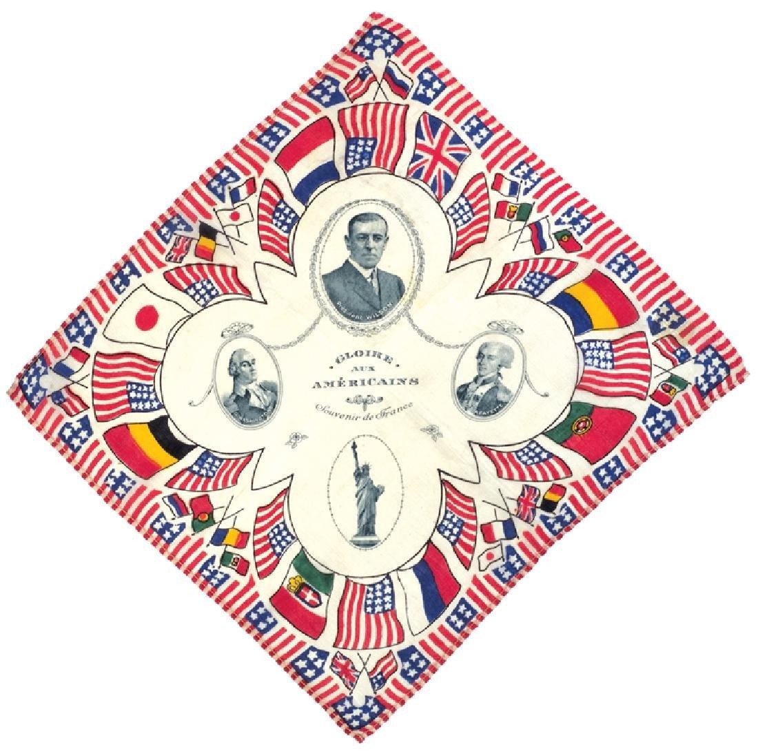 c 1918 WWI GLOIRE AUX AMERICAINS Printed Textile