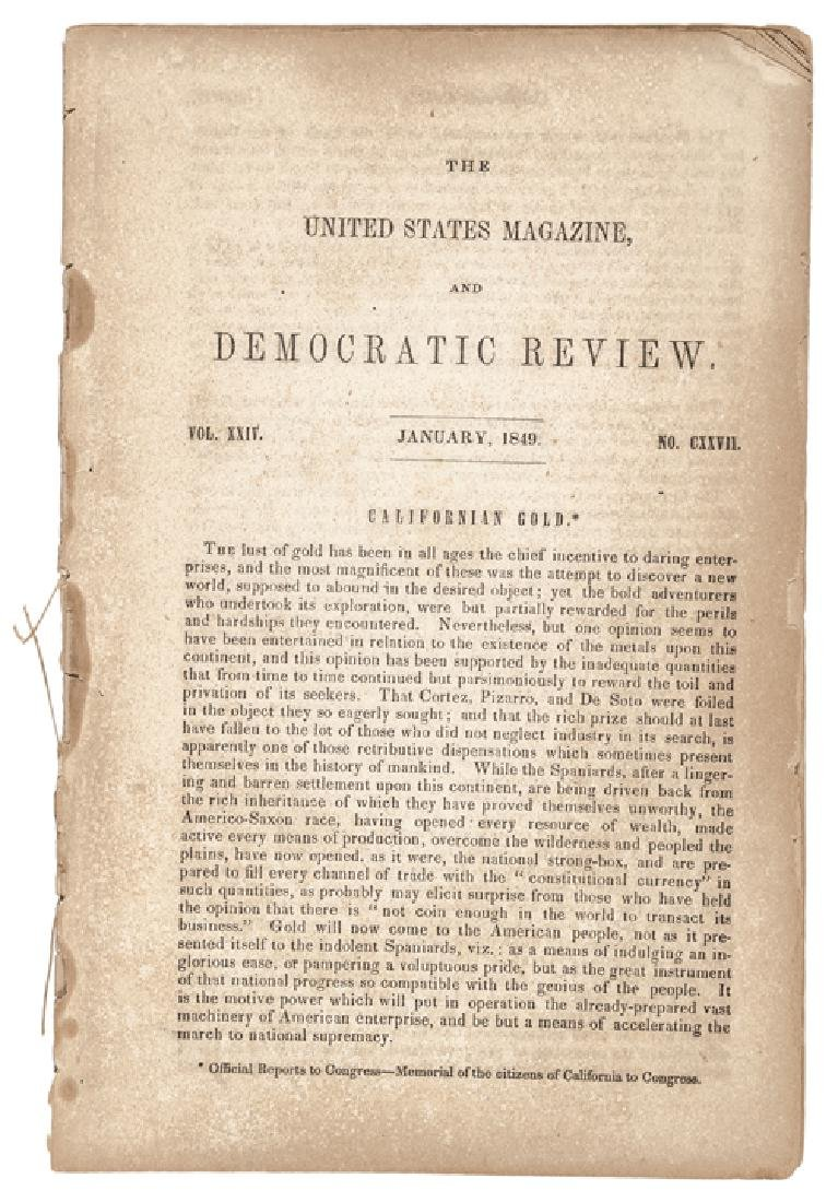Jan. 1849 Californian Gold Reported To Congress