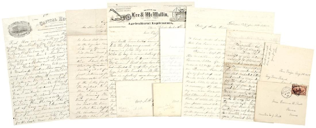 1866-1898 Lot of 10 Mining+Western-Related Letters