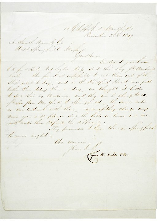 2022: CYRUS W. FIELD, 1849, Autograph Letter Signed