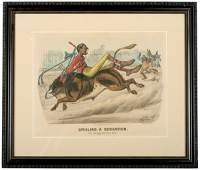 2087 1881 Currier  Ives Print The Bicycle Boy