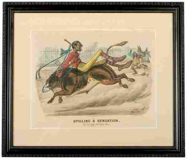 1881, Currier + Ives Print, The Bicycle Boy