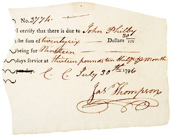 3019: Colonial Pay Order, 1796 (Elbridge Gerry related)