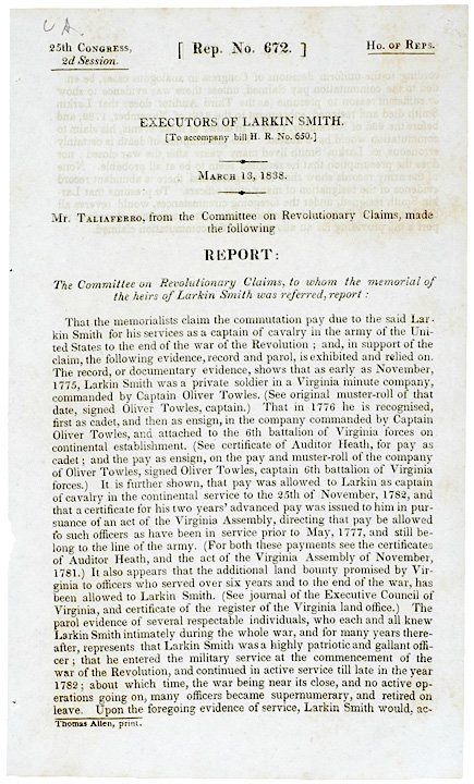 3021: Congressional Commutation Pay Petition, 1838