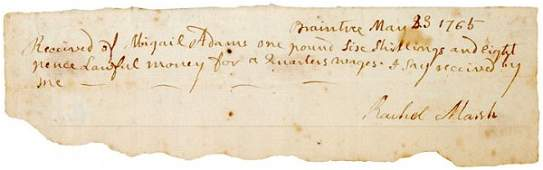 37: ABIGAIL ADAMS, 1765, Autograph Document Signed