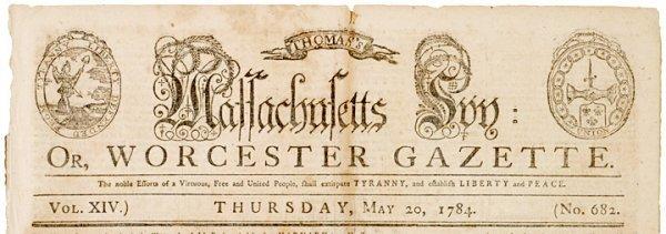 302: Paul Revere Engraved Masthead: Massachusetts Spy