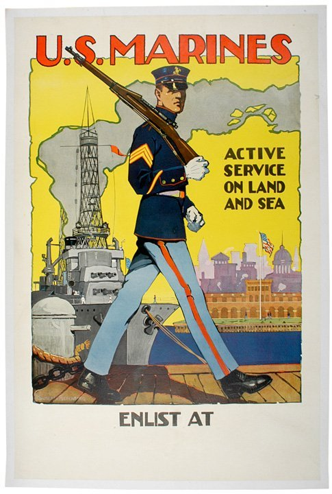 592: WWI Recruiting Poster: US Marines