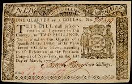 926 Colonial Currency NY March 5 1776 2s or 14