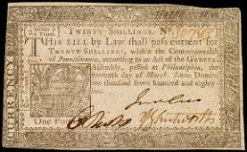 944: Colonial Currency, PA, March 16, 1785, 20s