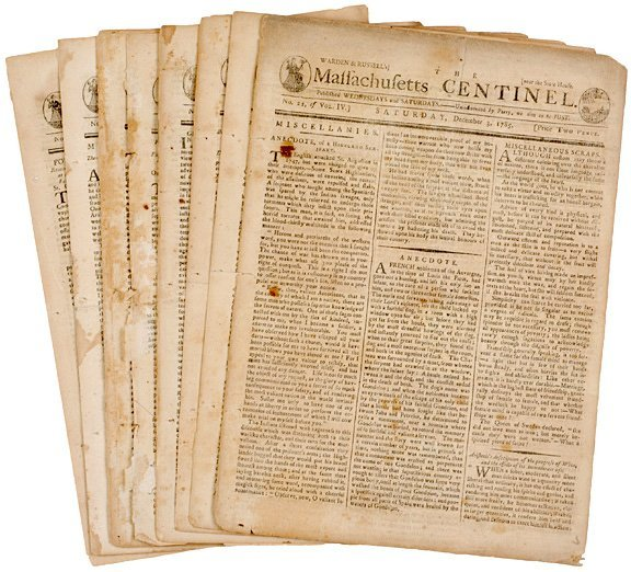 4006: Eight 1785 Newspapers, MASSACHUSETTS CENTINEL