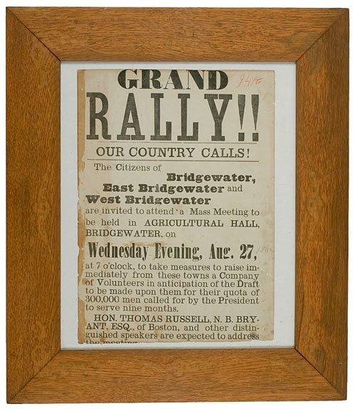4156: Civil War, Union Grand Rally Broadside, 1862