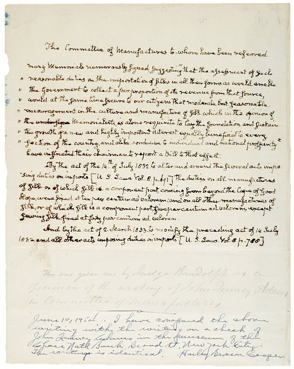 5001: (JOHN QUINCY ADAMS), Manuscript Document