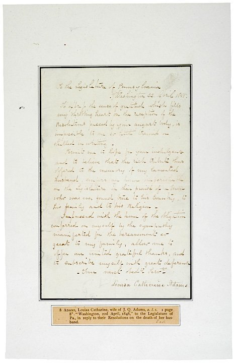 5002: LOUISA ADAMS, 1848, Autograph Letter Signed