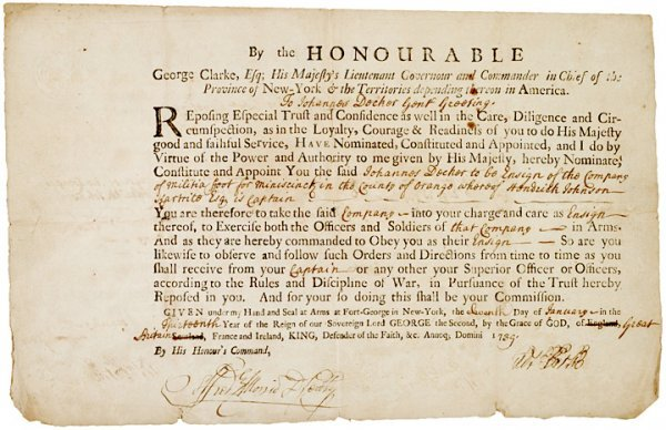 5010: GEORGE CLARKE,  Signed 1739 Military Commission