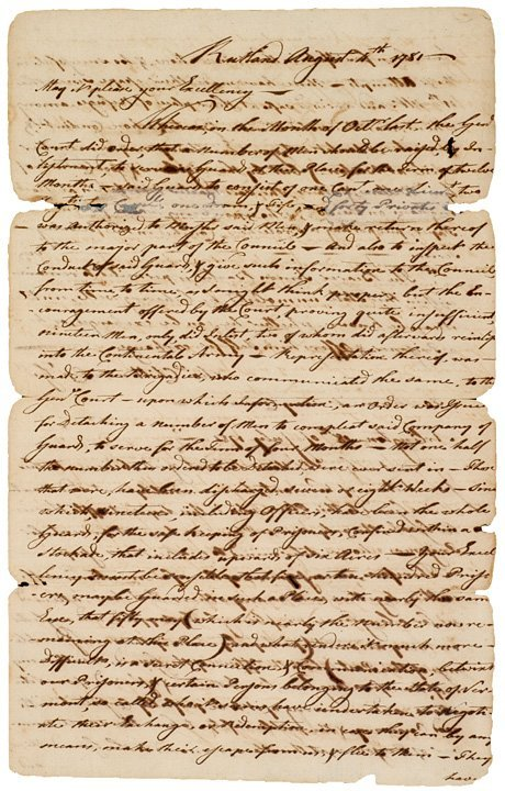 5016: Letter to (JOHN HANCOCK) dated 1780
