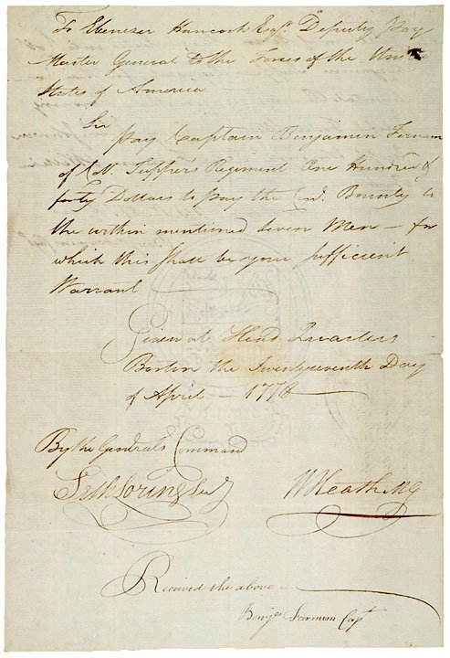 5018: WILLIAM HEATH, 1778, Manuscript Document Signed