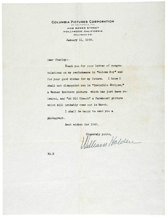 5020: WILLIAM HOLDEN, 1940, Typed Letter Signed