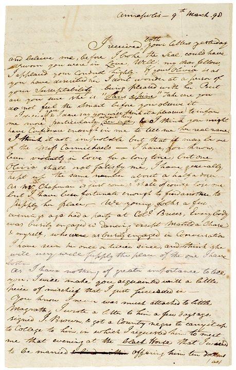 5024: FRANCIS SCOTT KEY, 1798, Autograph Letter Signed