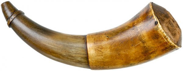 5085: Scrimshawed 1782 Revolutionary War Powder Horn