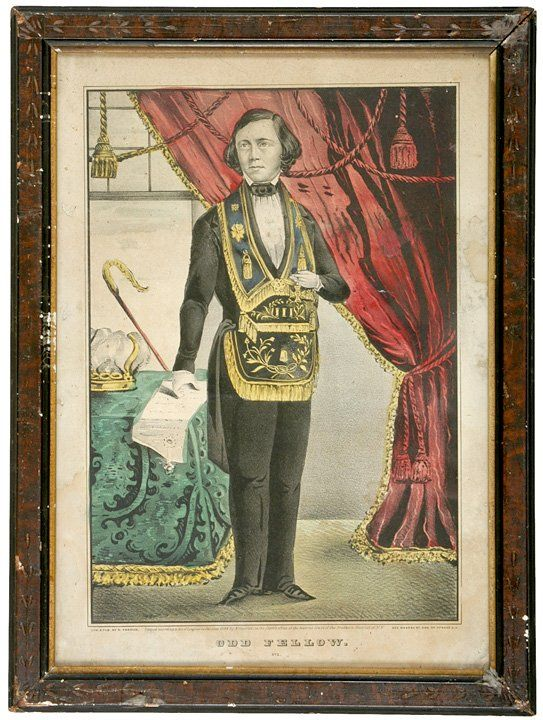 5136: N. Currier: 1848 Odd Fellow Hand Colored Print