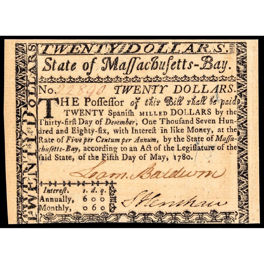 Colonial Currency COLONEL LOAMMI BALDWIN Signed
