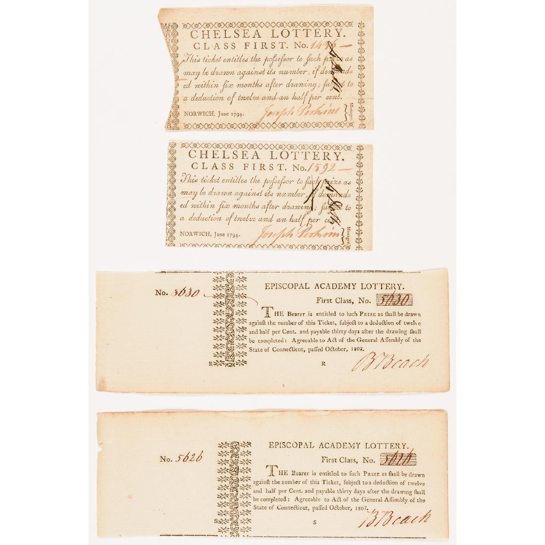1794-1872 Dozen Early Connecticut Lottery Tickets