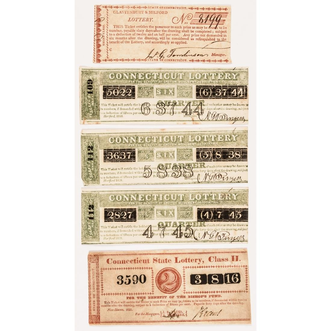 1794-1872 Dozen Early Connecticut Lottery Tickets - 2