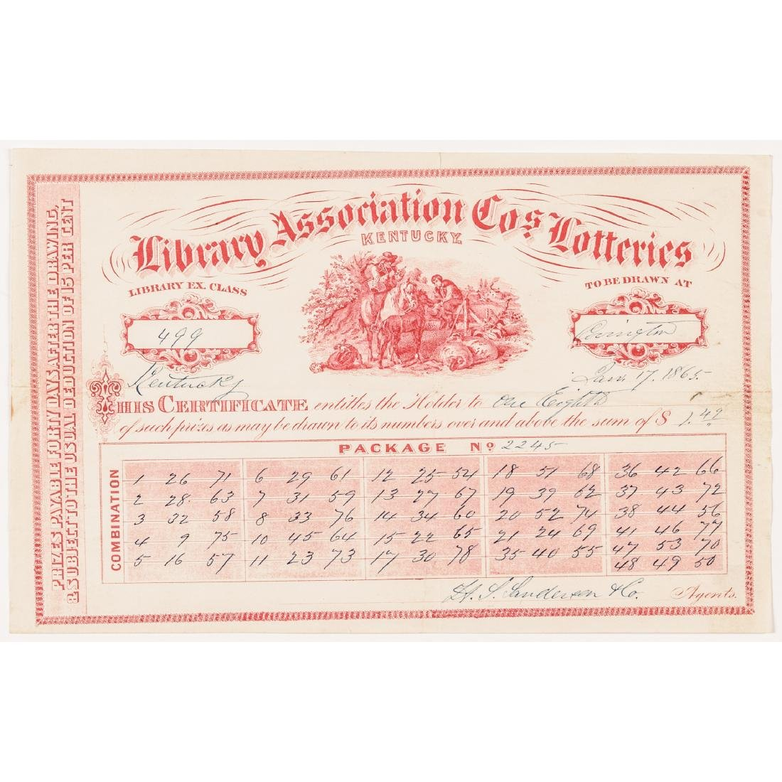 1811-1875 Kentucky Lottery 31 Tickets Collection