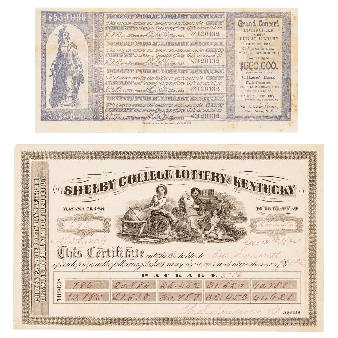 1811-1875 Kentucky Lottery 31 Tickets Collection - 2