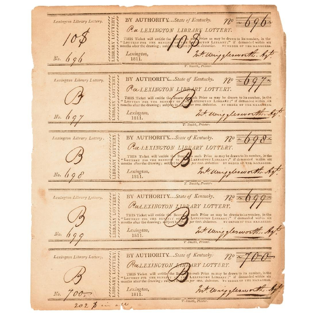 1811-1875 Kentucky Lottery 31 Tickets Collection - 3