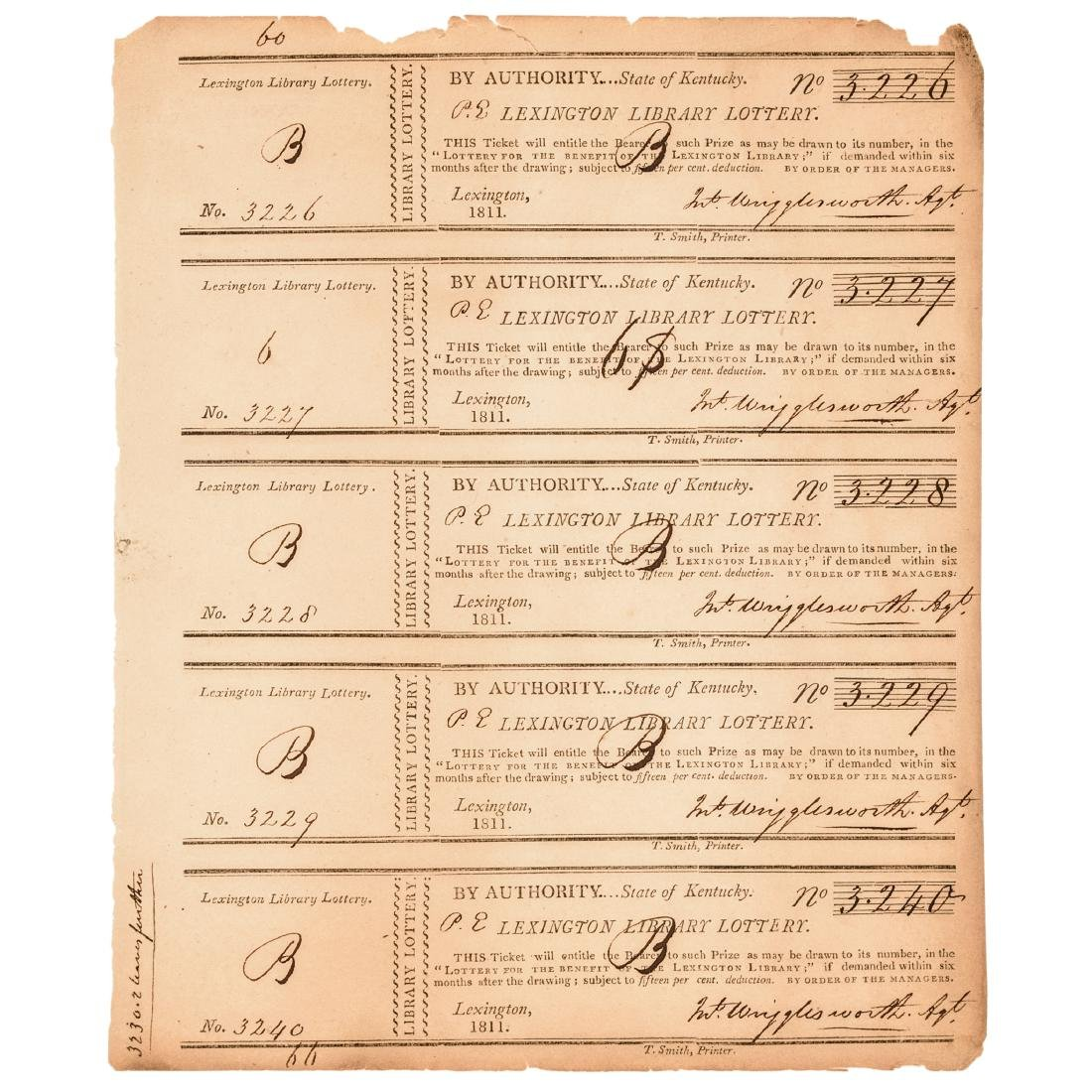 1811-1875 Kentucky Lottery 31 Tickets Collection - 4