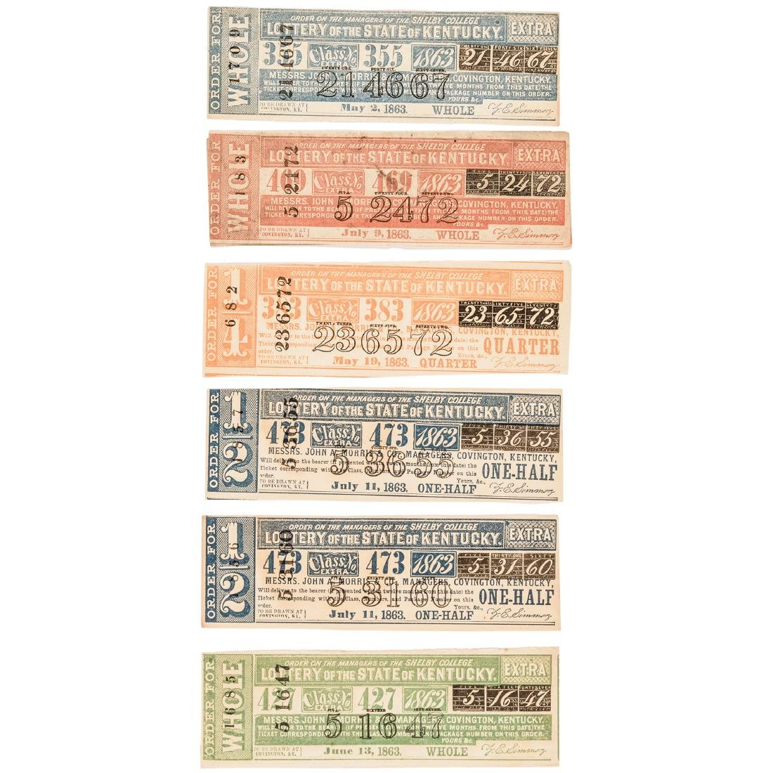 1811-1875 Kentucky Lottery 31 Tickets Collection - 6