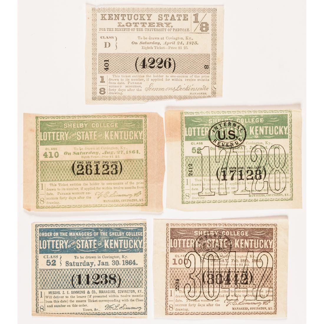 1811-1875 Kentucky Lottery 31 Tickets Collection - 7