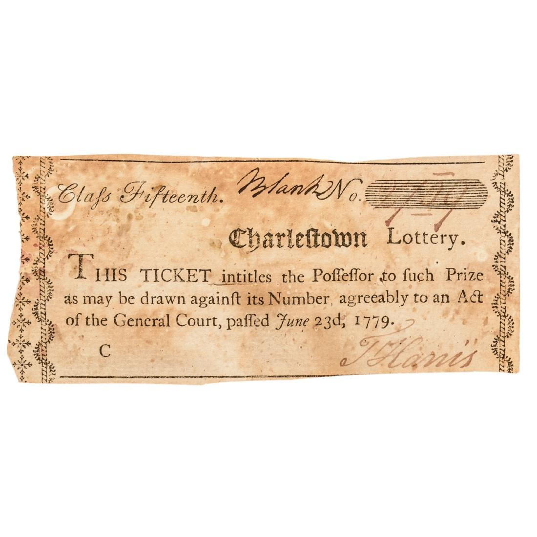1779-90 Charlestown Lottery + MA Lottery Tickets