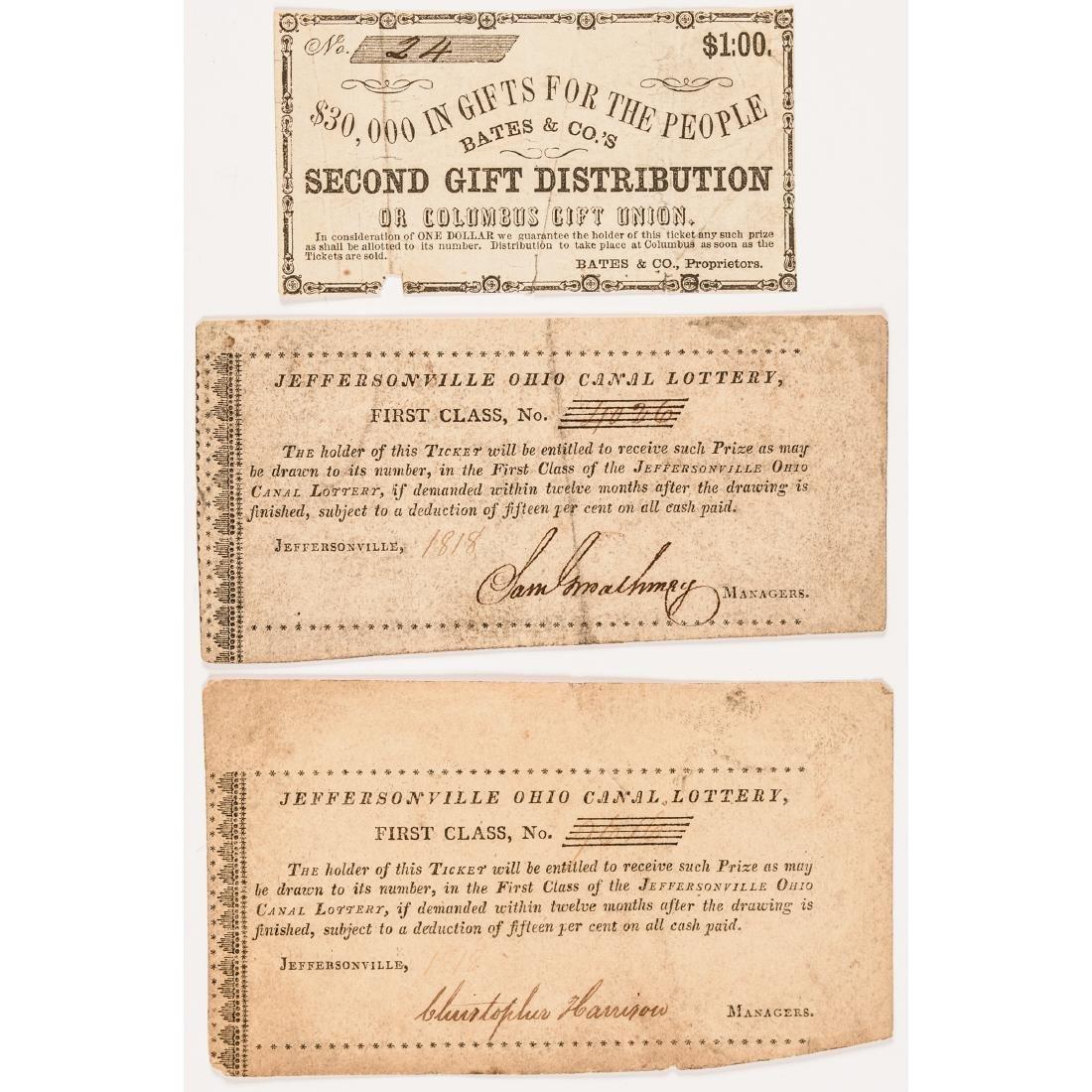 1818 to c. 1850 THREE (3) Ohio Lottery Tickets