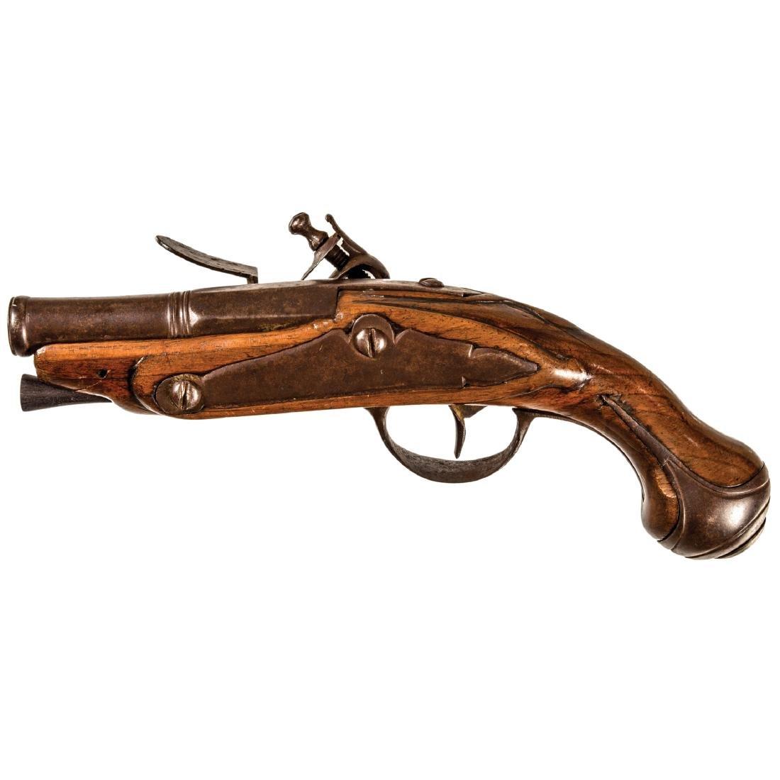 c 1760-80 LE PAGE French Pocket Flintlock Pistol - 2
