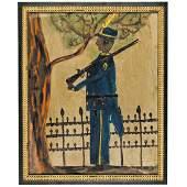 c. 1900-30s Black Folk Artwork Civil War Soldier