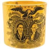 c 1824 Commemorative Canary Yellow Creamware Mug
