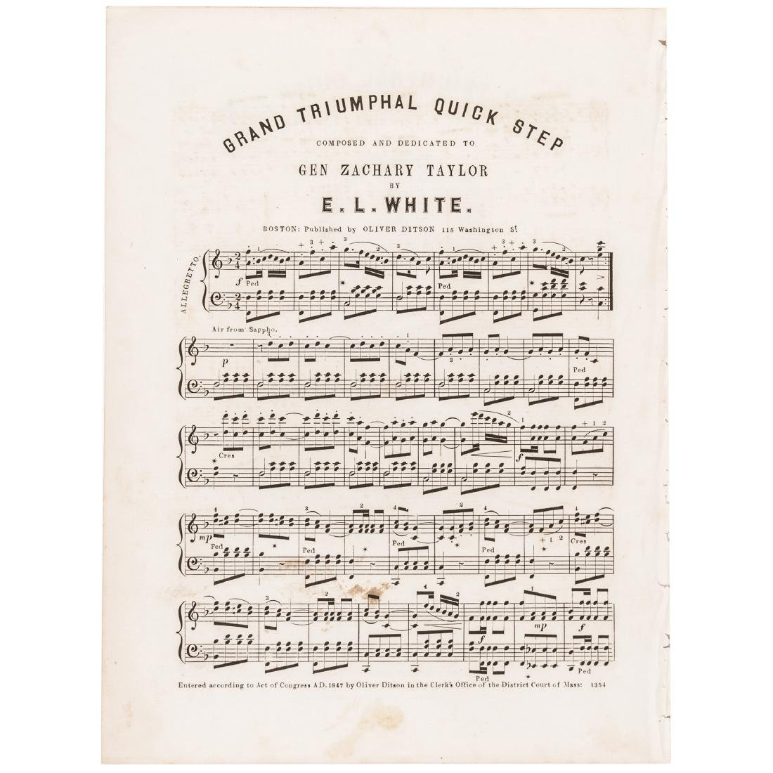 1847 Sheet Music Gen. Zachary Taylor, Triumphal - 2