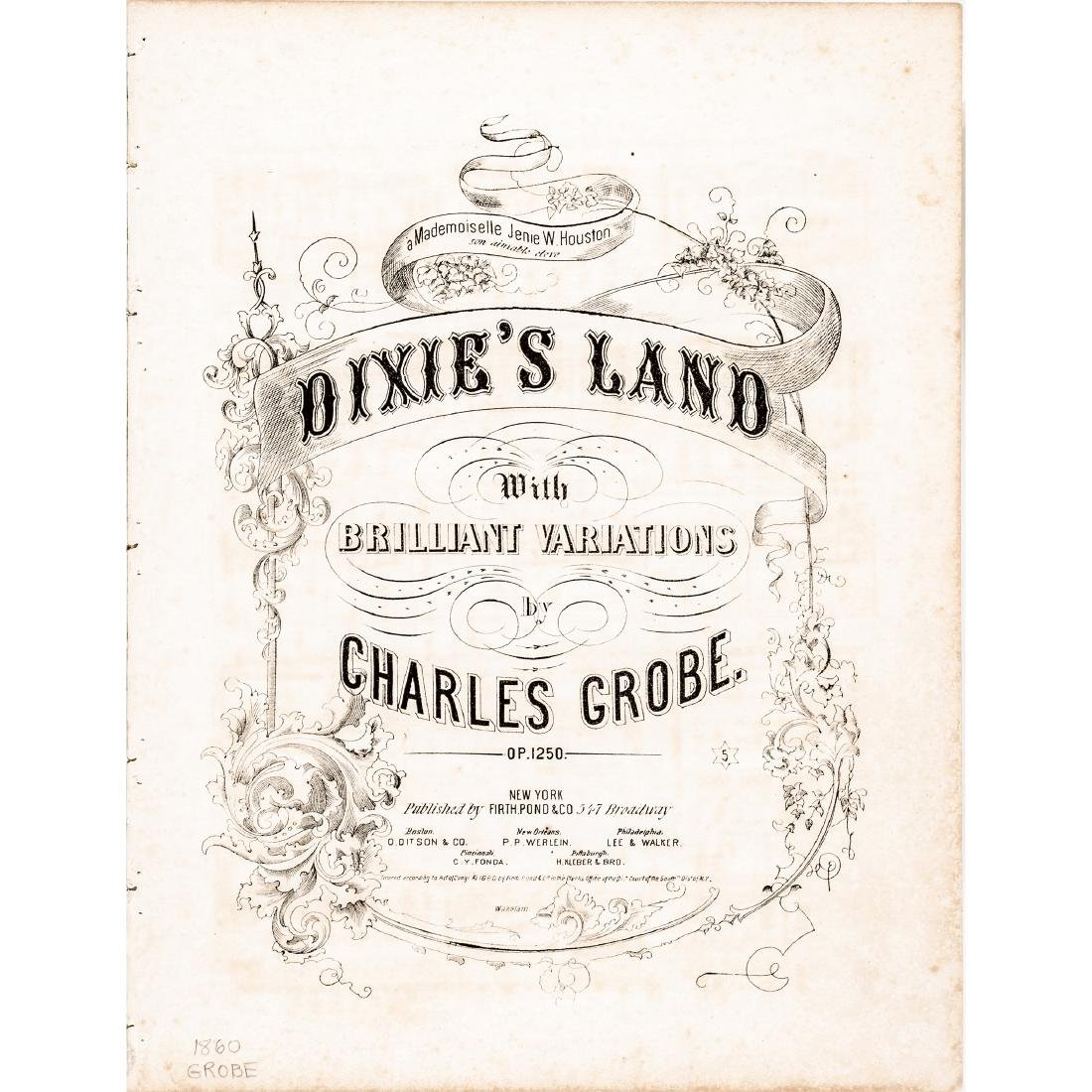1860 Sheet Music DIXIE'S LAND with Variations
