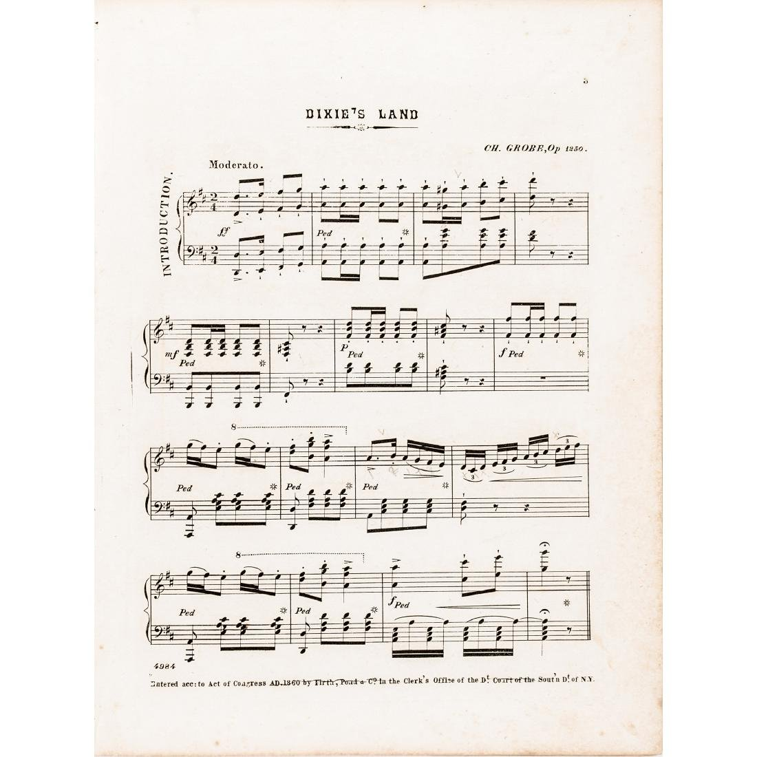1860 Sheet Music DIXIE'S LAND with Variations - 2
