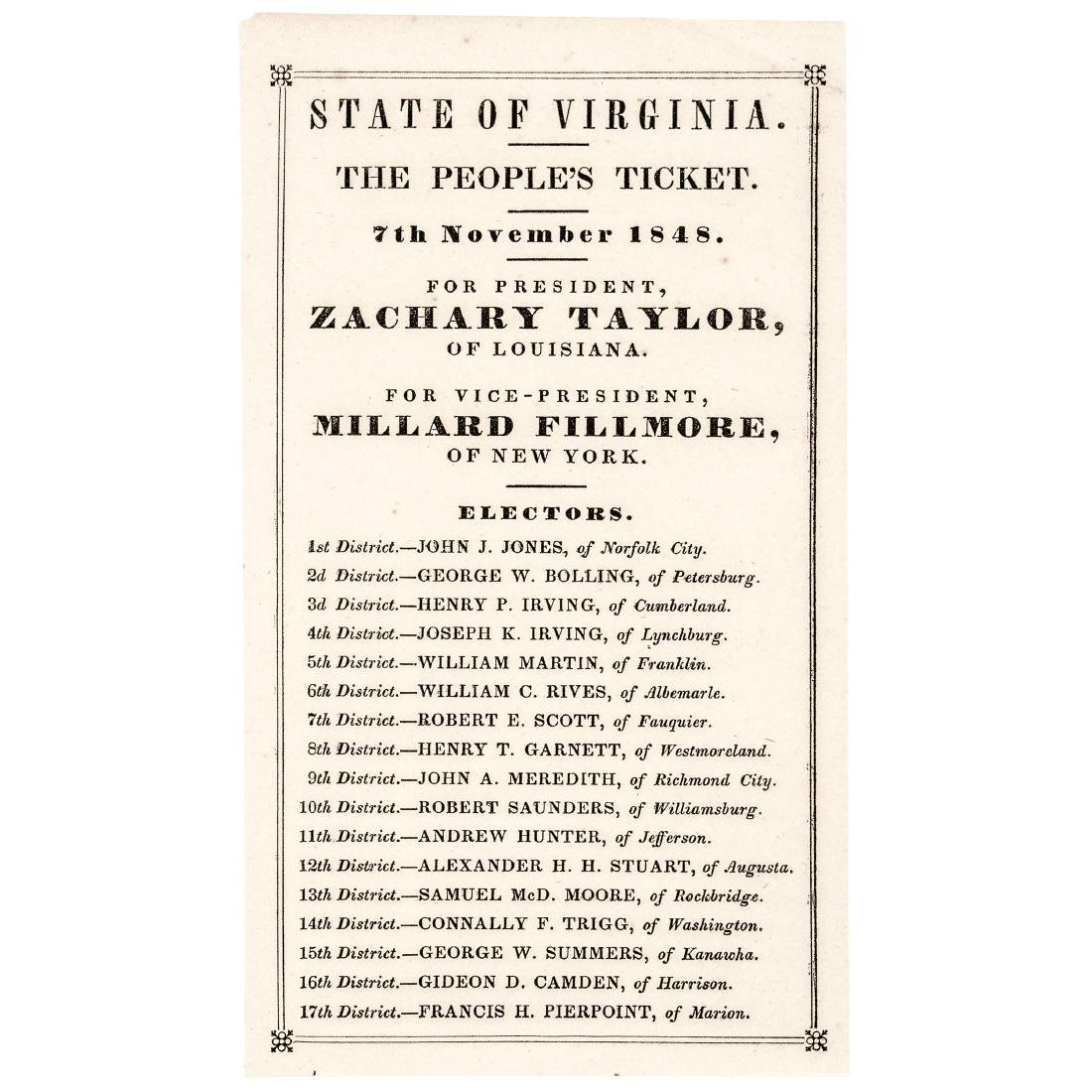 1848 Old Rough and Ready VA. Presidential Ballot