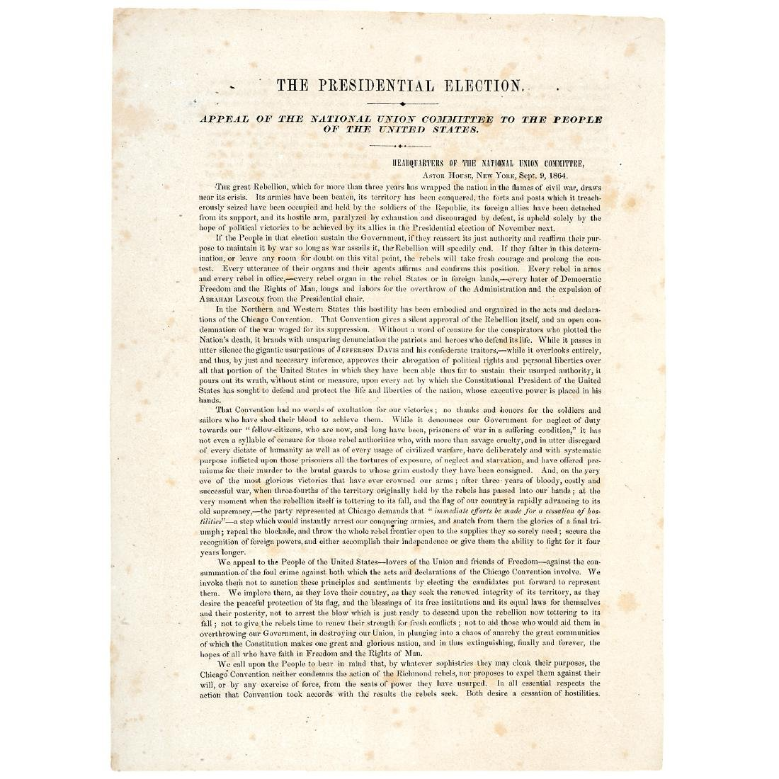 1864 Pro-Lincoln Presidential Election Broadsheet