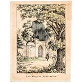 1845 Litho La Fayette at the Tomb of Washington