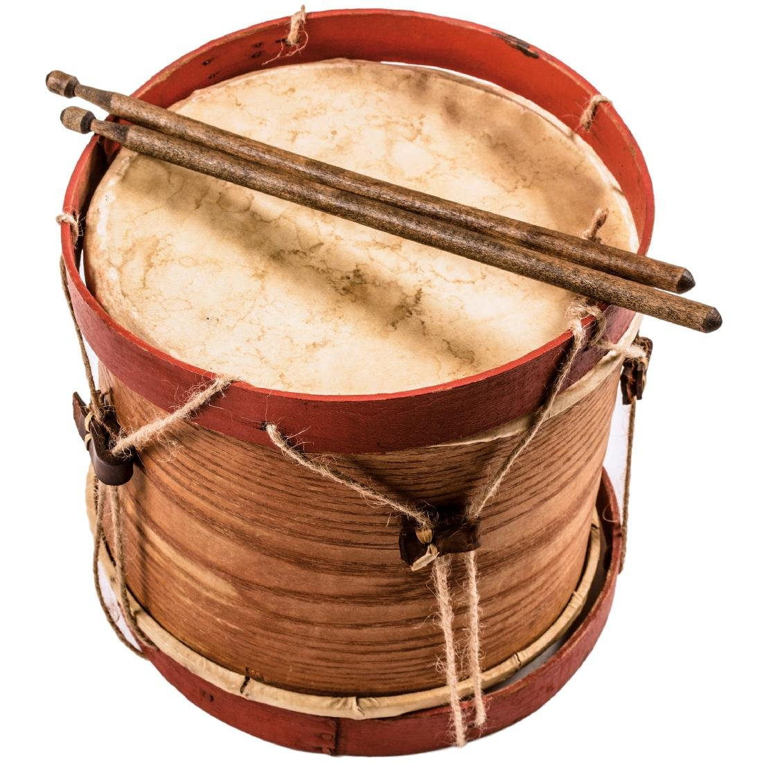 Civil War Era Child's Drum with Wooden Drumsticks
