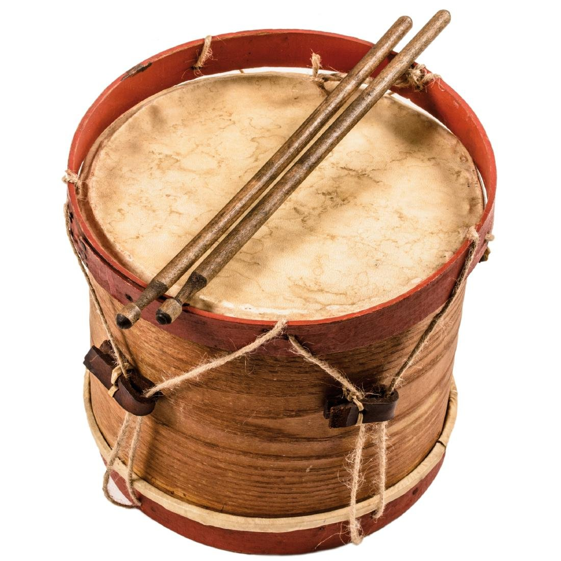Civil War Era Child's Drum with Wooden Drumsticks - 2