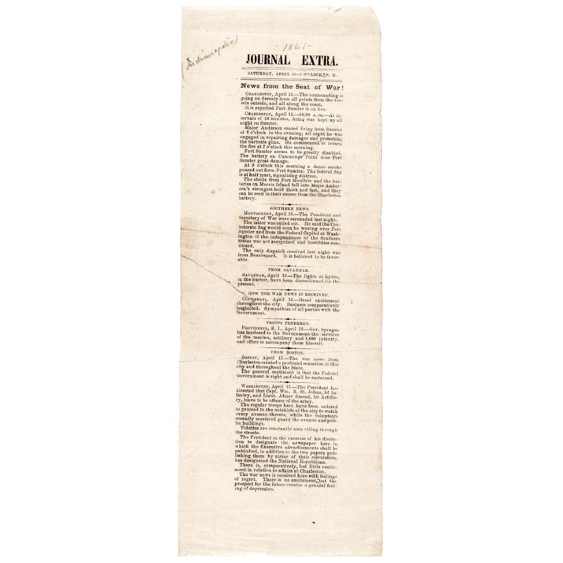 1861 Civil War Journal Extra Handbill Insert