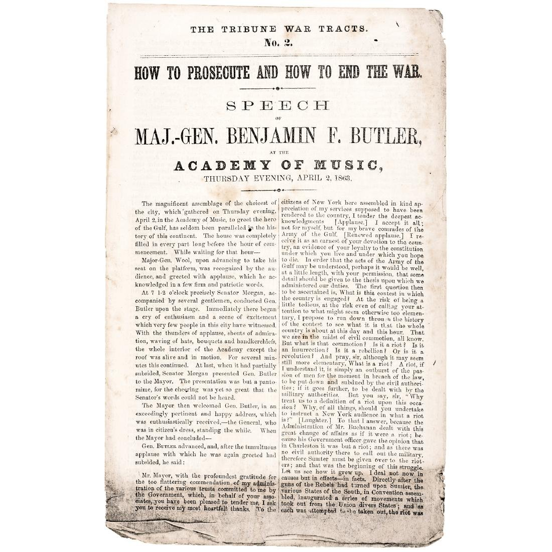 General Benjamin Butler's 1863 Civil War Speech